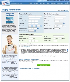 Car.com refinancing application